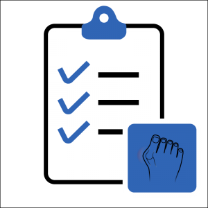 An image of a clipboard and list of Bunion symptoms